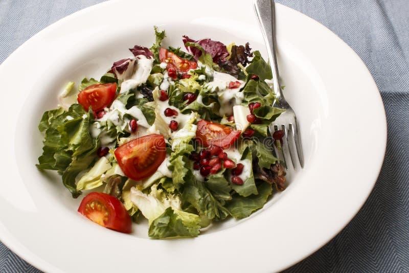 Świeża lato sałatka z pomidoru i granatowa ziarnem obraz stock
