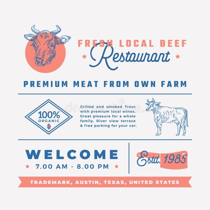 Świeża Lokalna wołowiny restauracja Podpisuje, tytuły, inskrypcje i menu dekoraci elementy Ustawiający, Premii ilość Retro ilustracja wektor