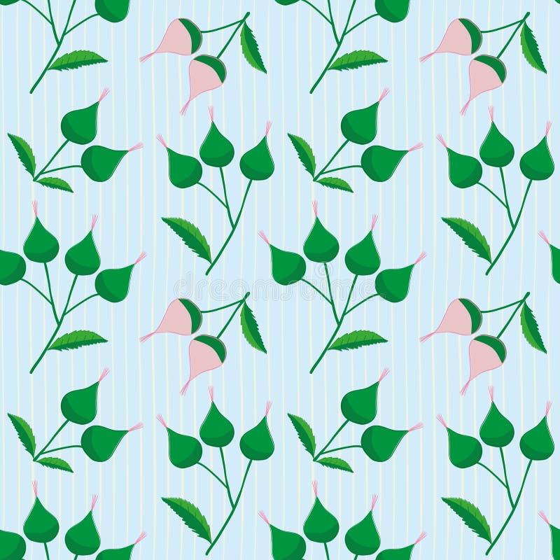 Świeża menchii i zieleni ręka rysująca pączkuje na subtelnie pasiastym bławym tle Eleganckiego rocznika stylu bezszwowy wektor royalty ilustracja