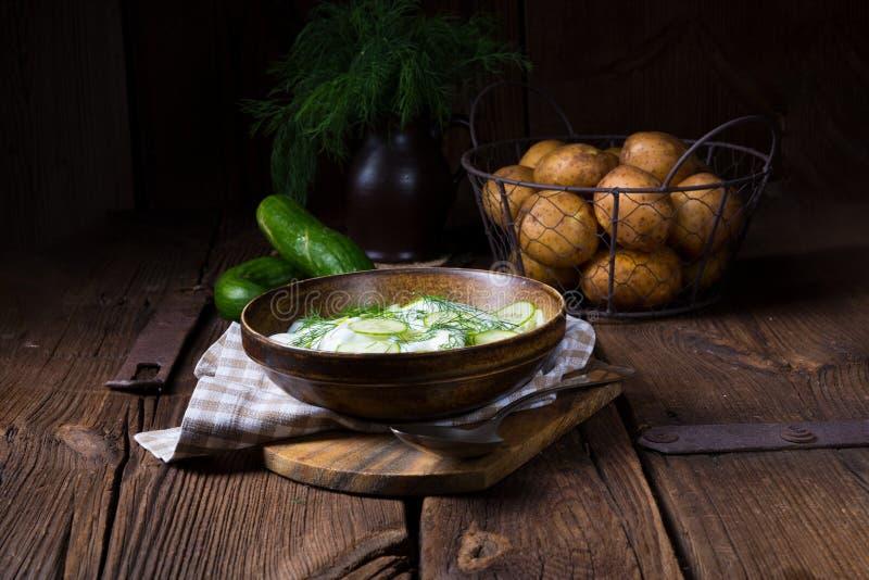 Świeża ogórkowa sałatka z jogurtu i potomstw grulami fotografia royalty free