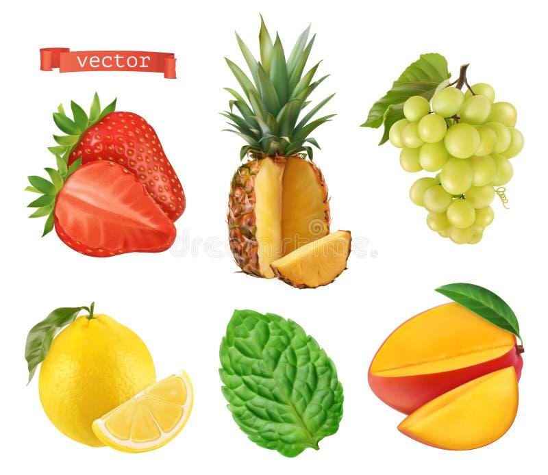 Świeża owoc, 3d wektorowe ikony ustawiać realistyczna ballons ilustracja ilustracja wektor