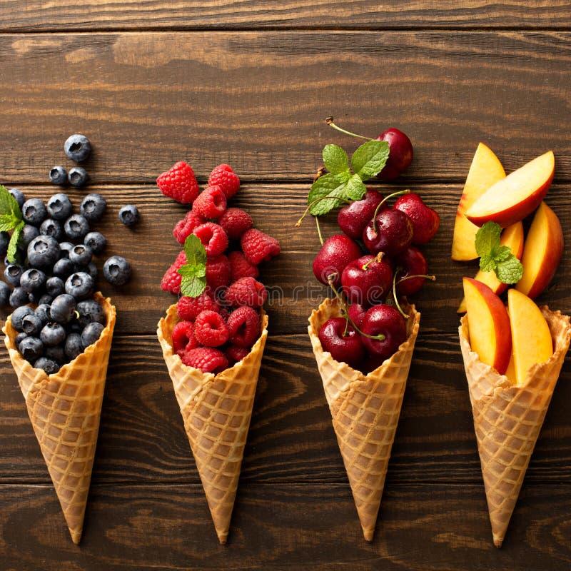 Świeża owoc i jagody w gofrów rożkach zdjęcie stock