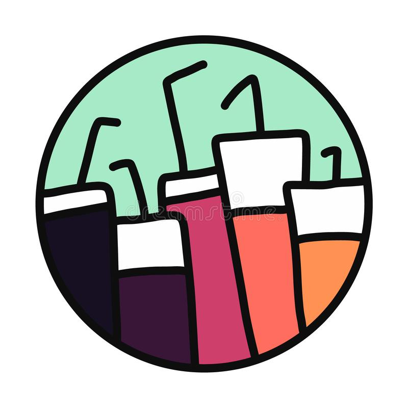 Świeża owoc organicznie lub alkoholów koktajle wręczamy patroszoną kolorową ilustrację dla baru weganinu fasta food restauracji m royalty ilustracja