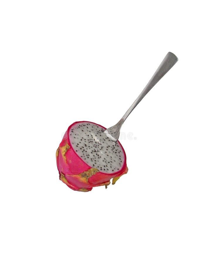 Świeża pokrojona owoc jako deser z łyżkową Pitaya smoka owoc obraz royalty free