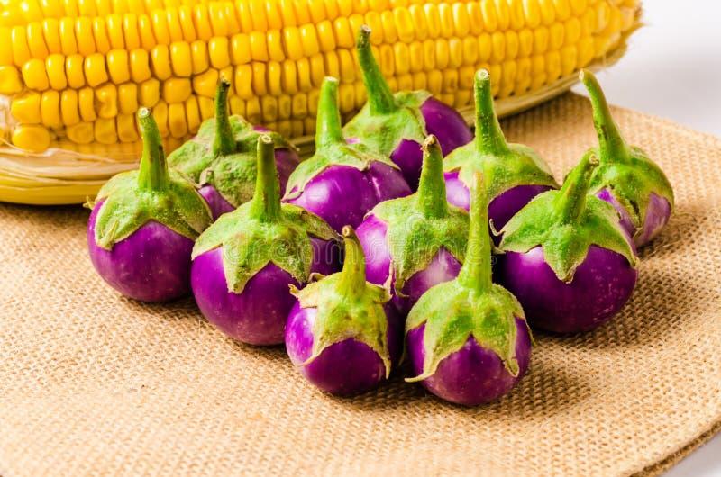 Download Świeża Purpurowa Oberżyna I Kukurudza Na Workowym Torby Tle Zdjęcie Stock - Obraz złożonej z warzywo, farm: 53787136