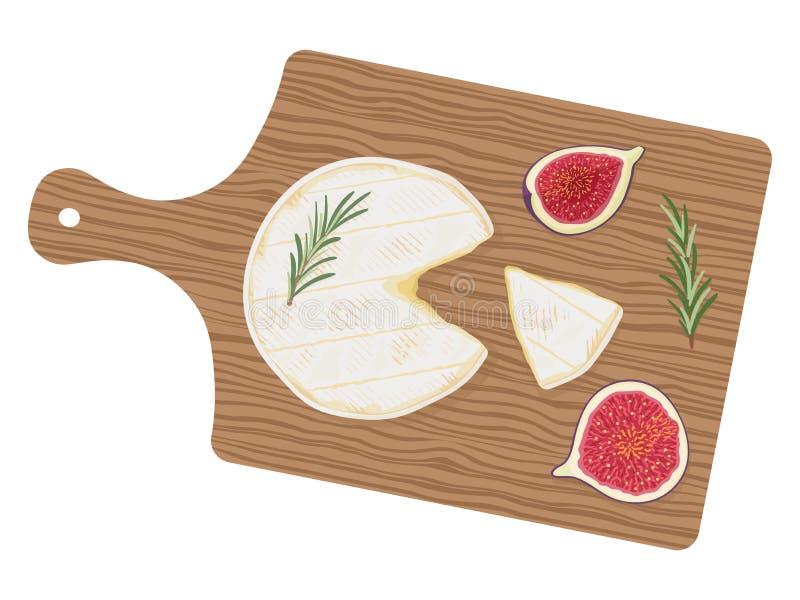 Świeża rżnięta butla camembert De Normandie ser z rozmarynami i figami na drewnianej tnącej desce, odgórny widok Wektorowy Illust royalty ilustracja
