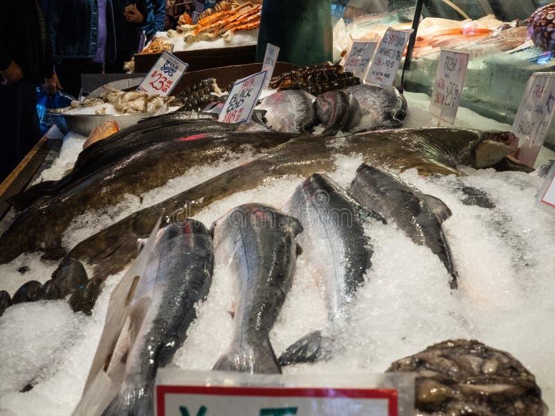 Świeża ryba, homar, łosoś, halibut, dla sprzedaży przy rybim rynkiem zdjęcia royalty free