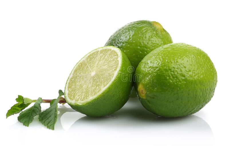 Świeża wapno owoc odizolowywająca na bielu obrazy stock