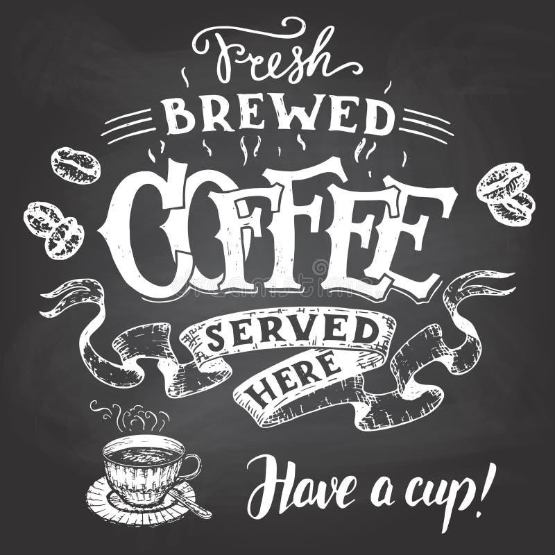 Świeża warząca kawa słuzyć tutaj ręki literowanie royalty ilustracja