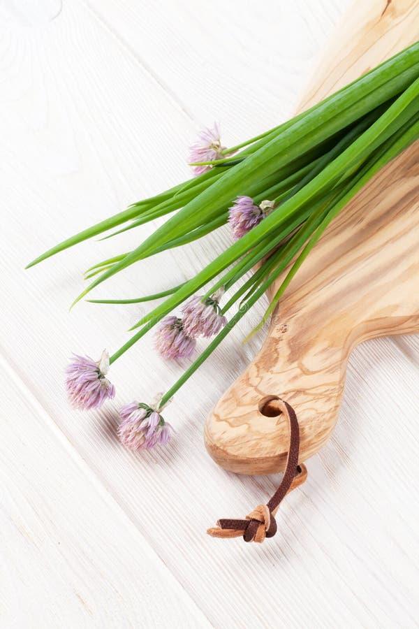 Świeża wiosny cebula na tnącej desce zdjęcia royalty free