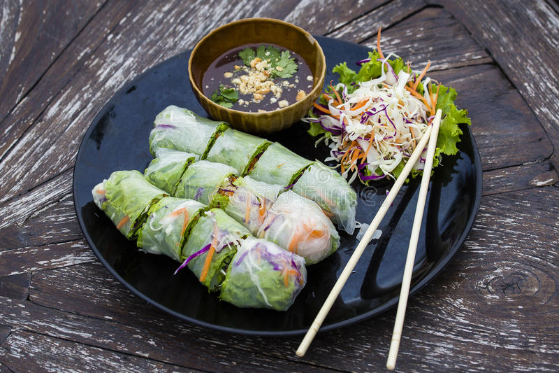 Świeża wiosny rolka, Wietnamski jedzenie fotografia stock