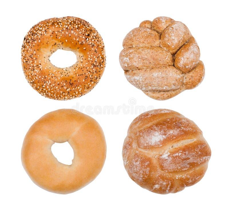 Świeże śniadaniowe chlebowe rolki odizolowywać na bielu zdjęcia royalty free