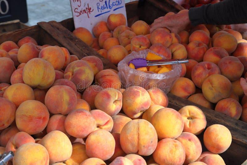 Świeże brzoskwinie przy rolnika rynkiem zdjęcia royalty free