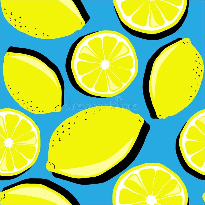 Świeże cytryny, dekoracyjny kolorowy tło Bezszwowy wz?r z cytrus owoc royalty ilustracja