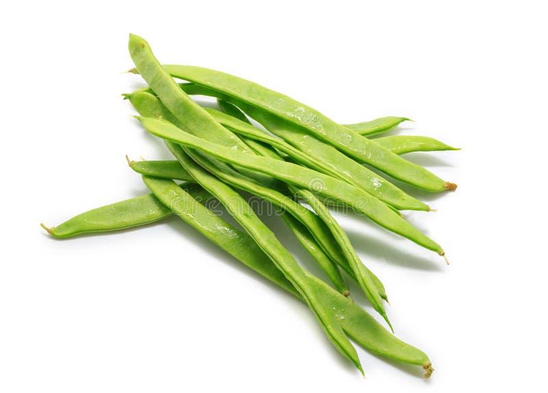 Świeże fasolki szparagowe odizolowywać na białym tle obrazy stock