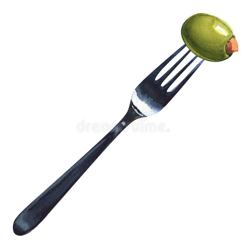 Świeże faszerować zielone oliwki na rozwidleniu odosobniony zdjęcie stock