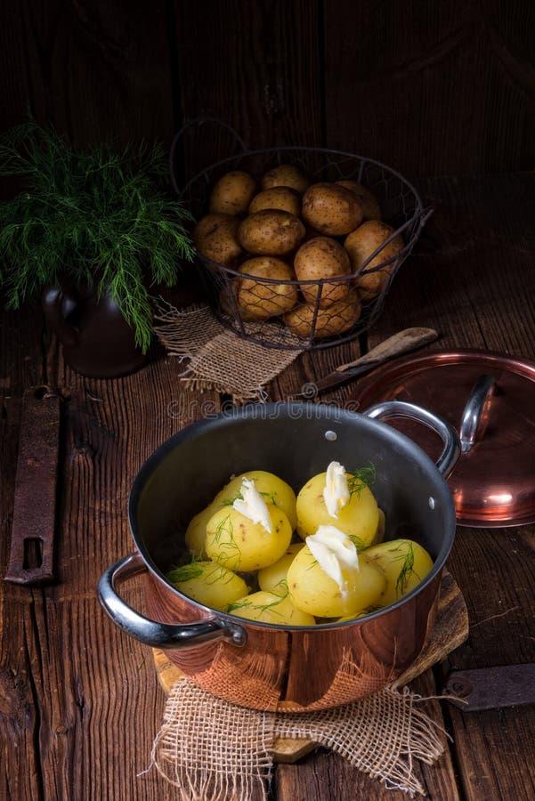 Świeże gotowane młode grule z masłem fotografia stock
