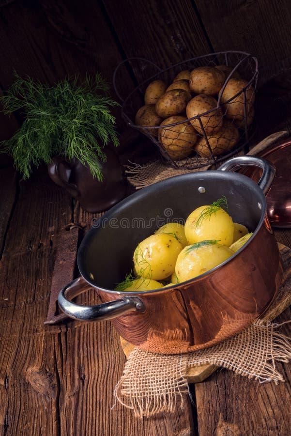 Świeże gotowane młode grule z masłem zdjęcie stock