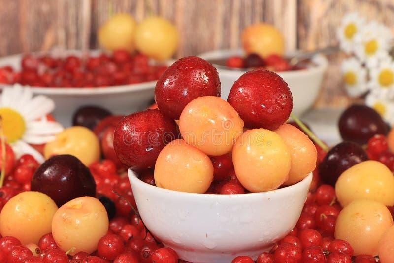 Świeże jagody słodka wiśnia, wiśnia z kropelkami, wiśnia i słodka wiśnia na drewnianym lekkim tle, selekcyjna ostrość obrazy royalty free