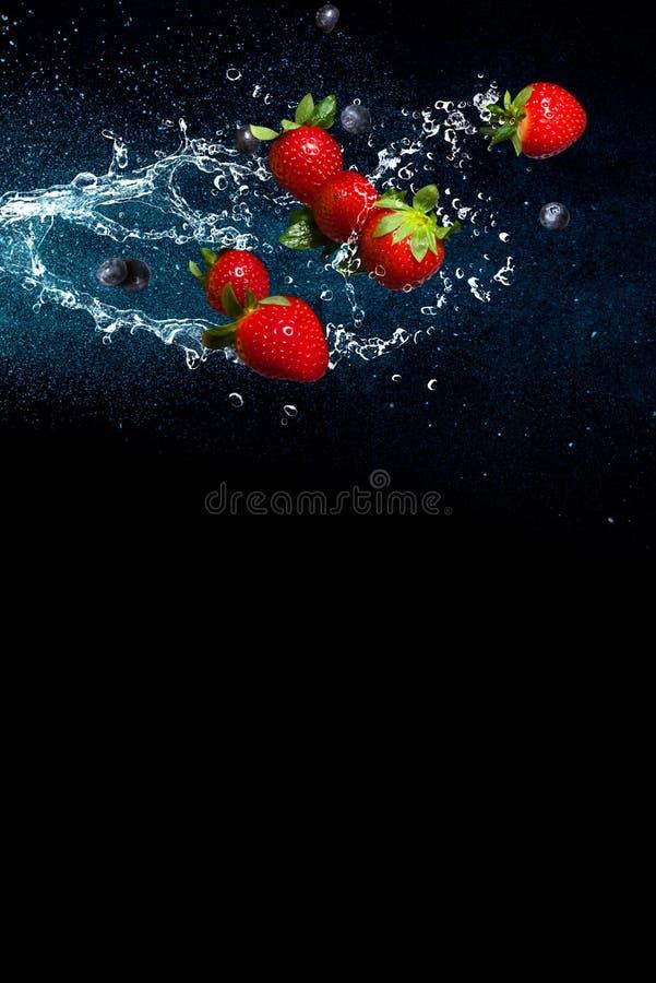 Świeże jagody w pluśnięciach woda na czarnym tle Soczyste truskawki i czarne jagody zdjęcia royalty free