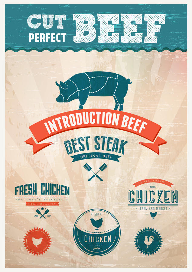 Świeże kurczaka i wieprzowiny wołowiny odznaki ilustracji