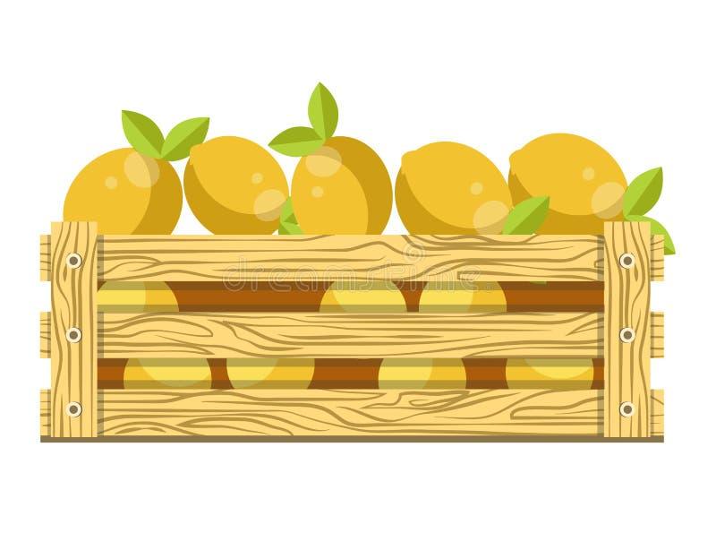 Świeże kwaśne cytryny z liśćmi w drewnianym pudełku dla sprzedaży royalty ilustracja