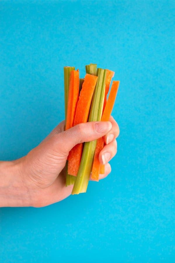 Świeże marchewki i selerowi kije w kobiety ręce fotografia stock