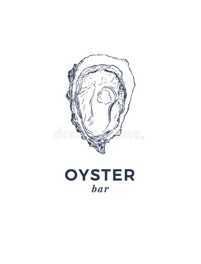 Świeże ostrygi, luksusowy owoce morza Wektorowa ilustracja ostrygi royalty ilustracja