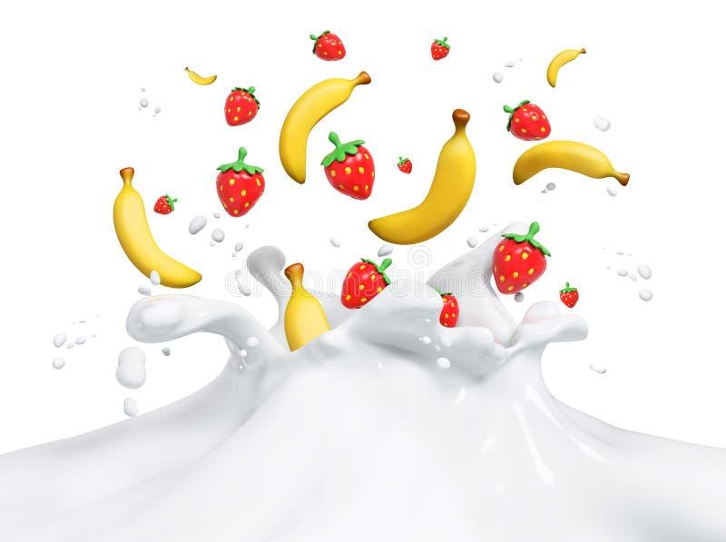Świeże owoc spada w milky pluśnięcie doją 3d rendering ilustracja wektor