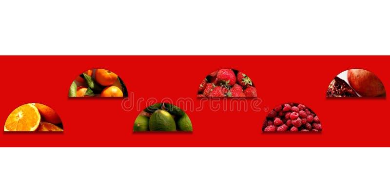 Świeże owoc wśrodku półkól układających w zygzag zdjęcie stock