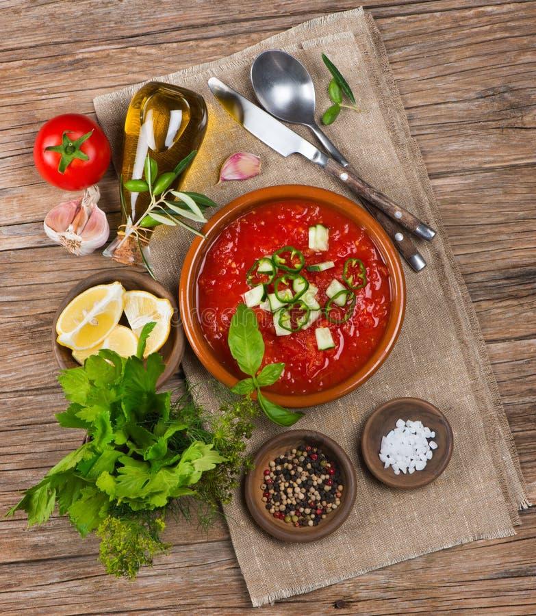 świeże pomidory zupy zdjęcie royalty free