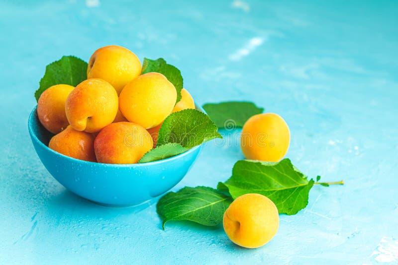 Świeże słodkiej pomarańcze morele w błękitnym pucharze zdjęcie stock