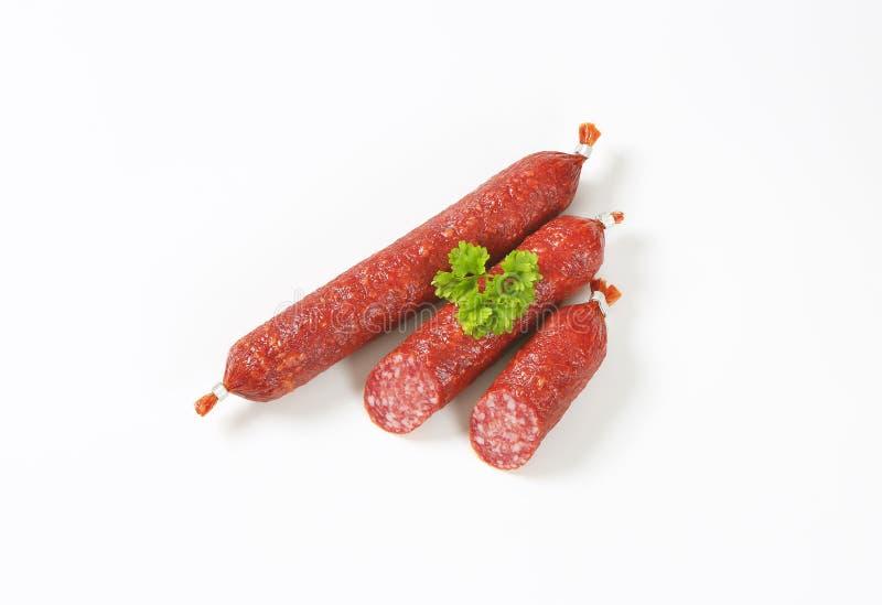 Świeże salami kiełbasy zdjęcie stock