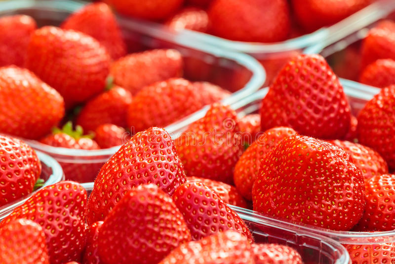 Świeże truskawki na rynku zdjęcia royalty free