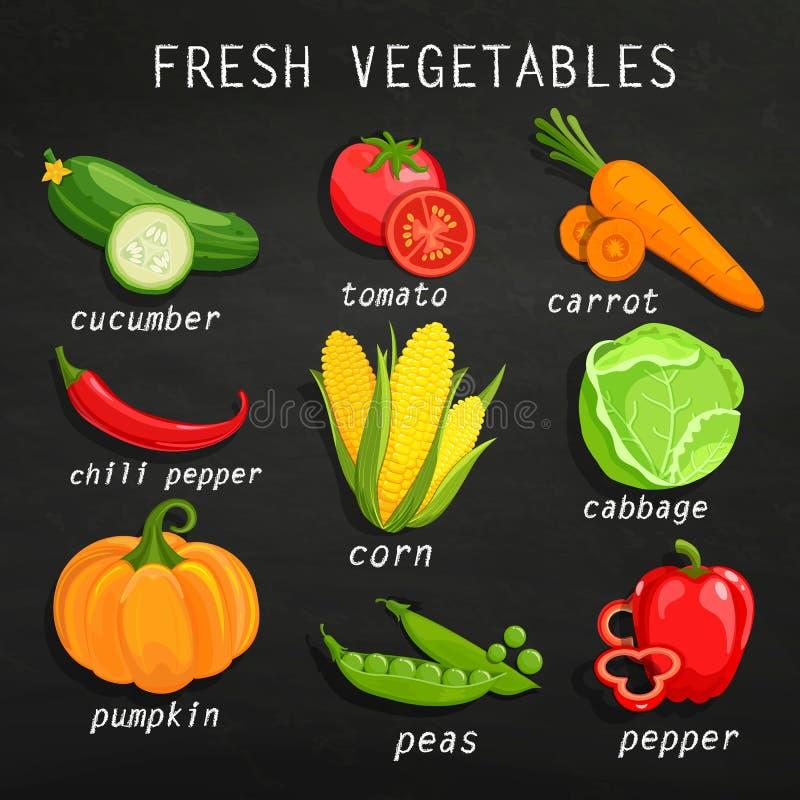 świeże warzywa ustalonymi royalty ilustracja