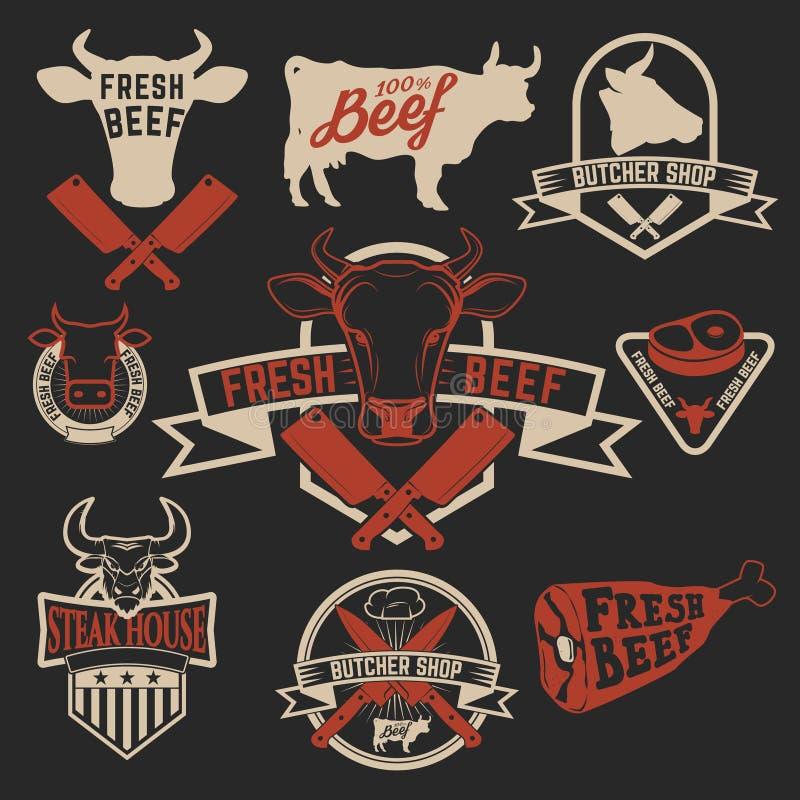 Świeże wołowiien etykietki Butchery sklepu etykietki Krowa przewodzi ikony i bu ilustracja wektor