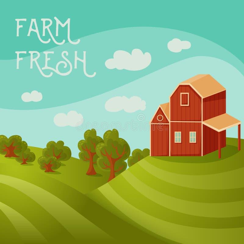 świeże z gospodarstw rolnych Wiejski krajobraz z domem wiejskim, polami i drzewami, ilustracji