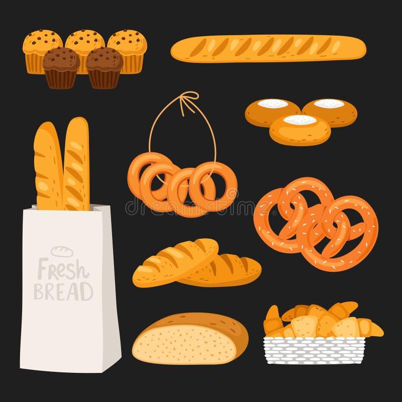 Świeżego chleba i ciasta onblack odosobniony tło Wektorowi piekarnia sklepu elementy ilustracja wektor