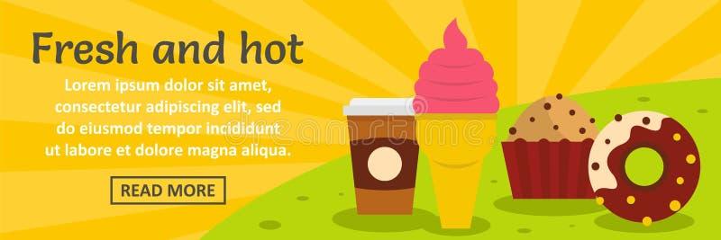 Świeżego i gorącego fasta food sztandaru horyzontalny pojęcie ilustracja wektor
