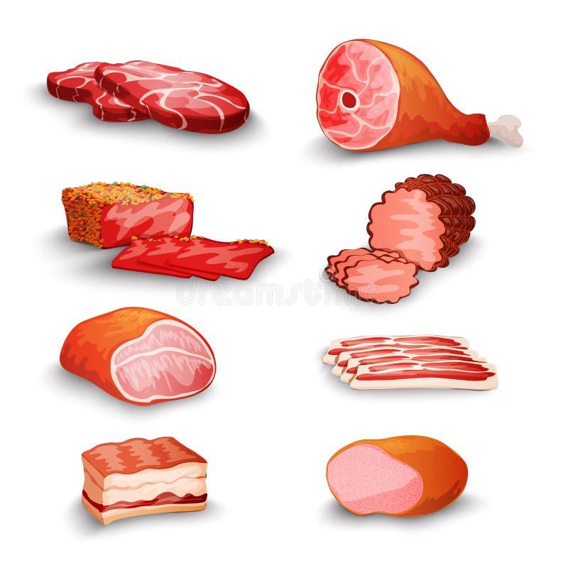 Świeżego mięsa set royalty ilustracja