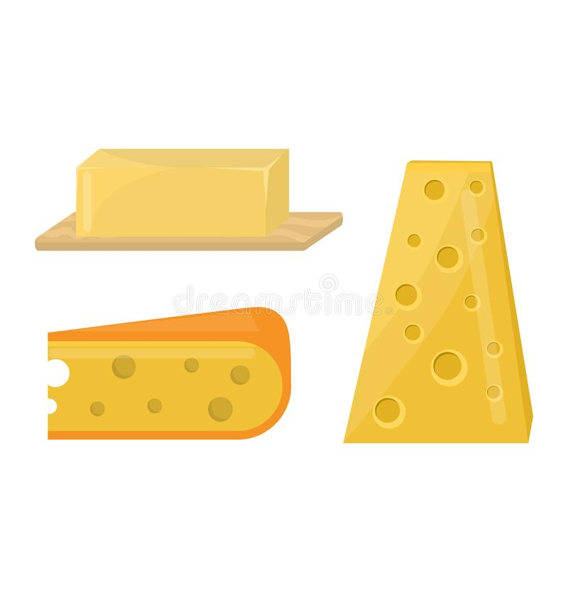 Świeżego sera rozmaitości włoskiej obiadowej ikony nabiału płaski jedzenie i mleka camembert składamy garmażeryjnego gouda posiłe ilustracji