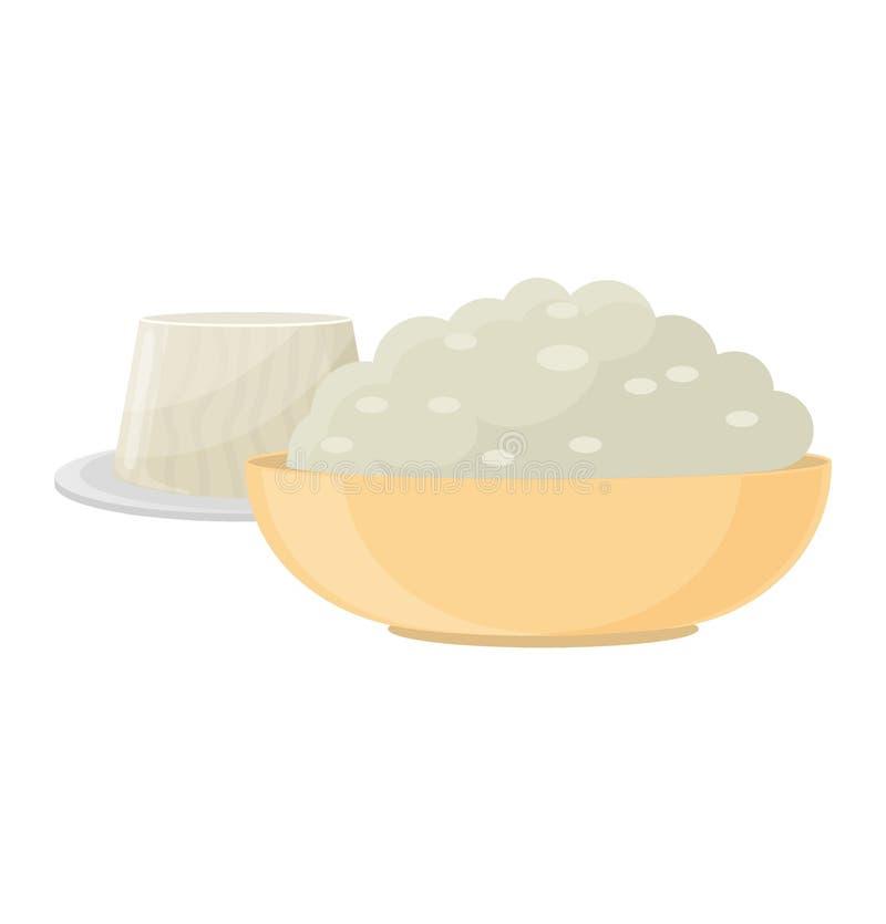 Świeżego sera rozmaitości włoskiej obiadowej ikony nabiału płaski jedzenie i mleka camembert składamy garmażeryjnego gouda posiłe ilustracja wektor