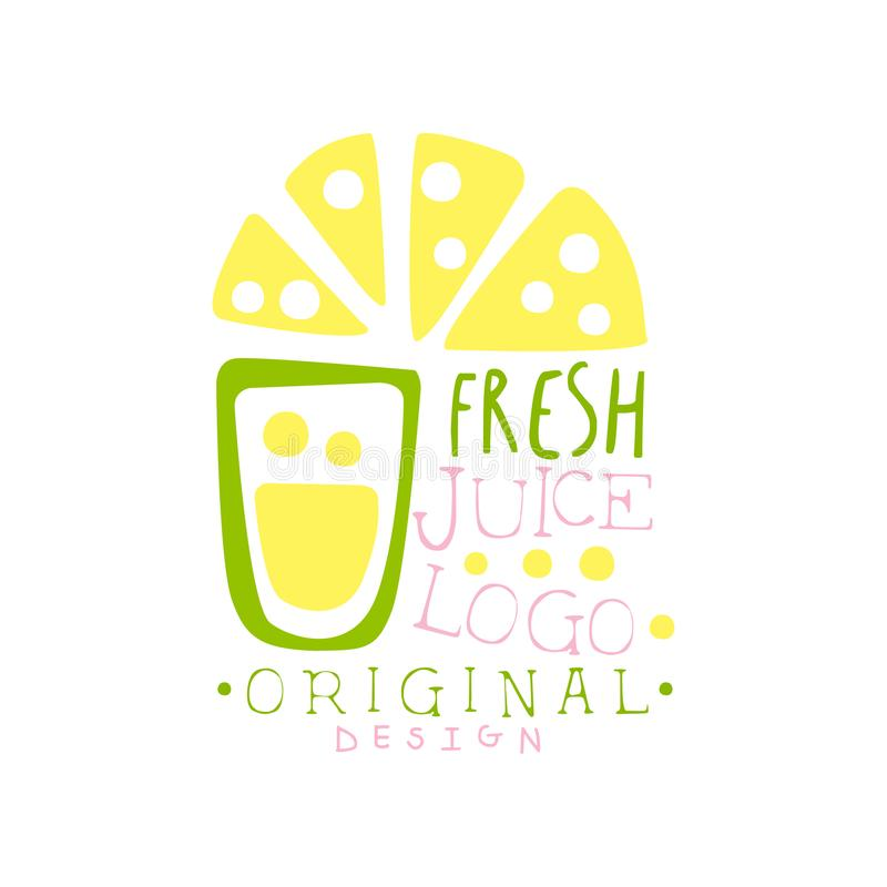 Świeżego soku loga oryginalny projekt, cytryna napojów etykietka, eco produktu odznaka, menu elementu kolorowa ręka rysujący wekt ilustracji