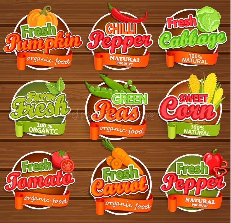 Świeżego warzywa etykietki ilustracji