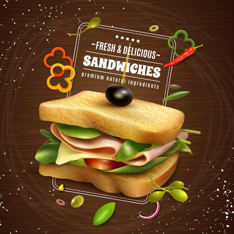 Świeżej kanapki tła reklamy Drewniany plakat ilustracji