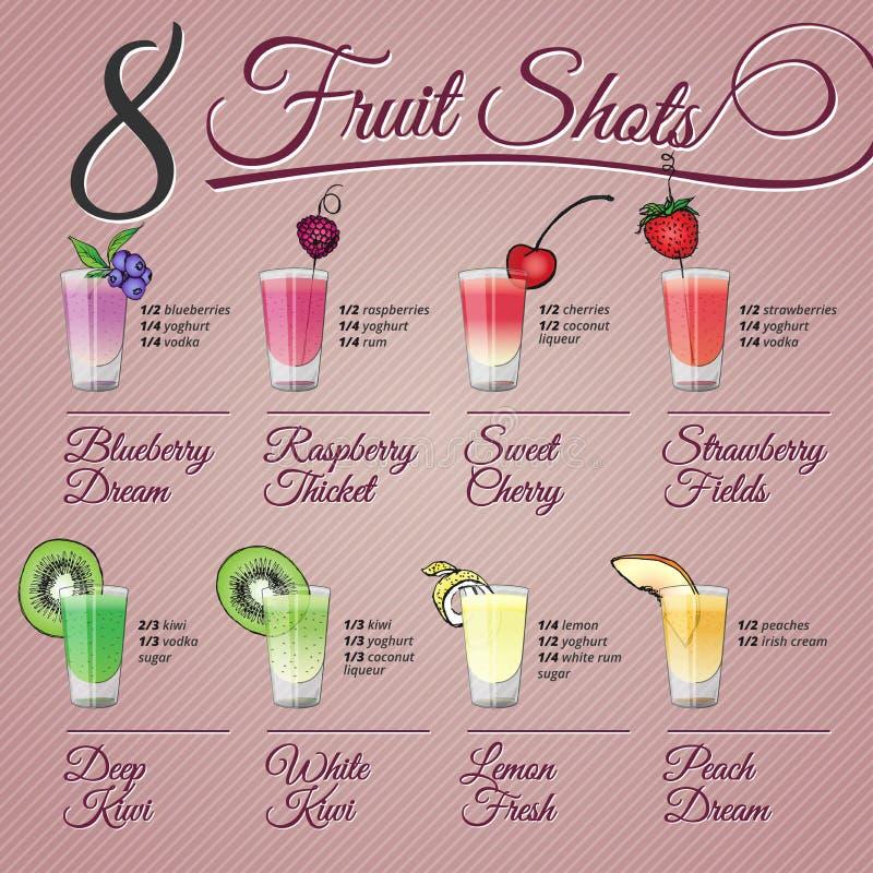 Świeżej owoc strzały z owocową dekoracją ilustracja wektor