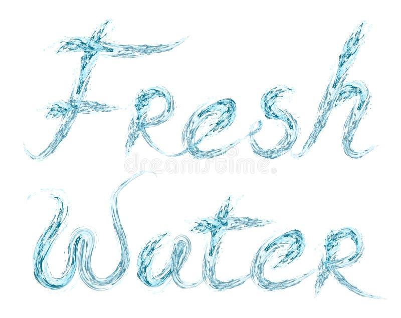 Świeżej Wody słowo na bielu royalty ilustracja