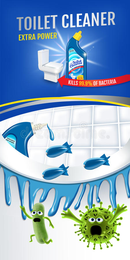 Świeżej woni cleaner toaletowe reklamy Czyści koczka zwłoki zarazki wśrodku toaletowego pucharu wektorowa realistyczna ilustracja royalty ilustracja