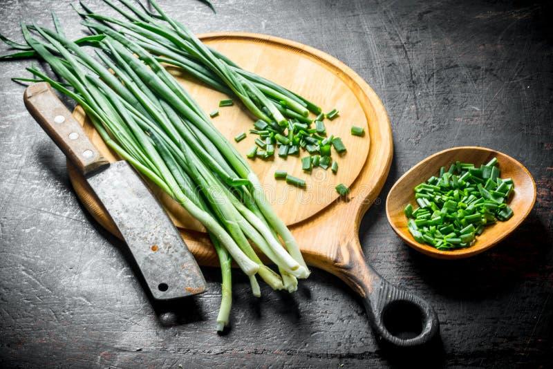 Świeżo ciie zieloną cebulę od domu ogródu fotografia stock