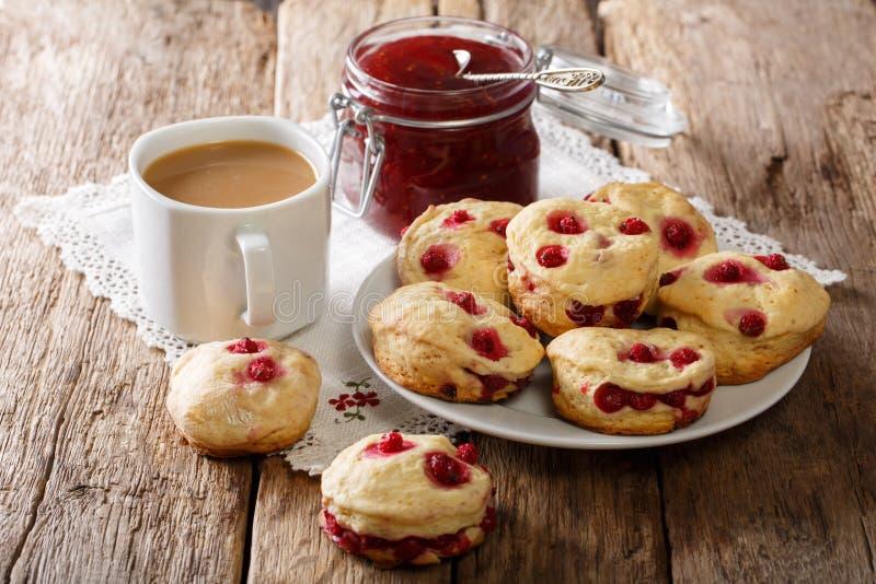 Świeżo piec Angielscy scones z jagodą, herbatą z mlekiem i dżemem c, zdjęcia royalty free